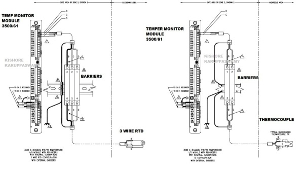 3 TMM 61 W BARRIERS FOR 3 RTD AND THERMOCOUPLE