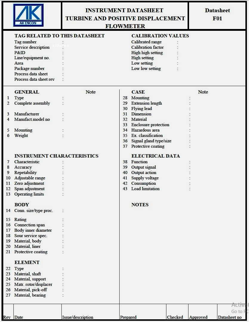 instrumentation specification sheet 2