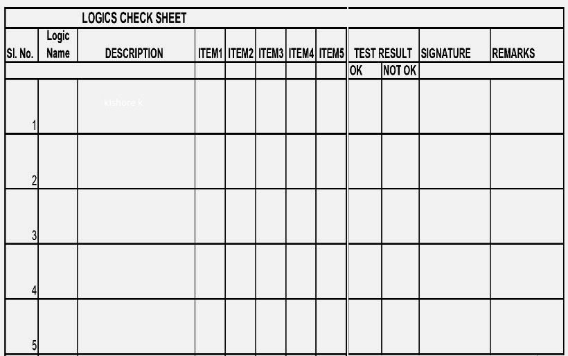 logic check sheet